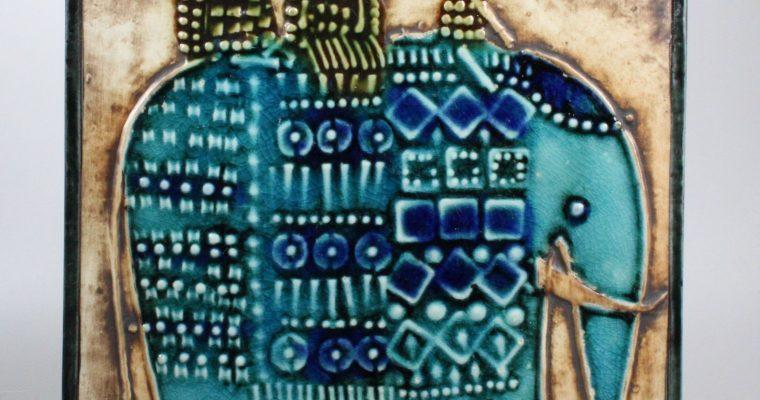 Lisa Larson Gustavsberg tile Unik Elefant 1960's
