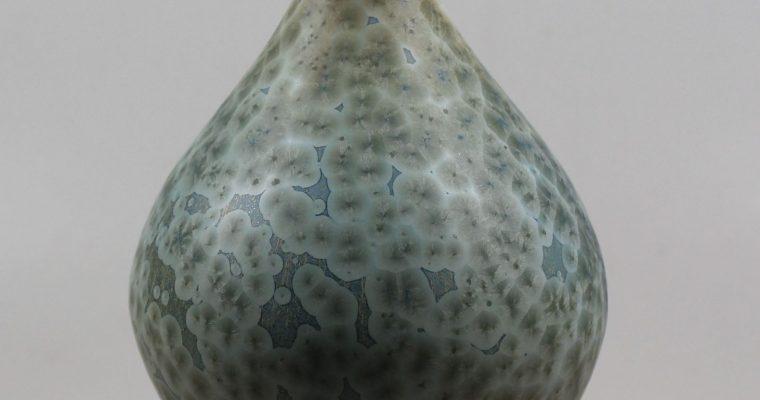 Hein Severijns vase crystalline glaze greenish blue