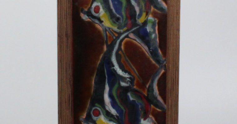 Nella Damsma copper enamel plaque on teak