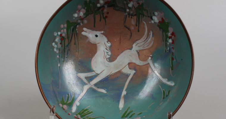 Sagitta enamel bowl with horse