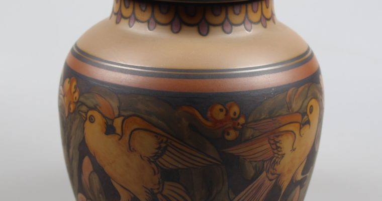 L. Hjorth Bornholm art deco pot with lid birds