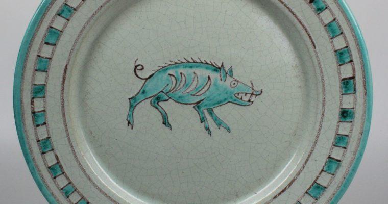 Miguel Ruiz Jiménez art pottery plate wild boar
