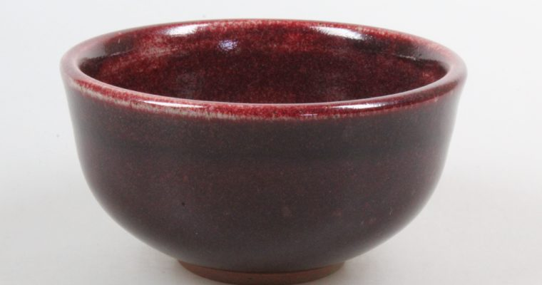 Kati Lorand  art pottery bowl oxblood glaze