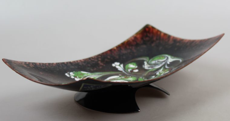 Copper enamel vintage dish on foot 1960's