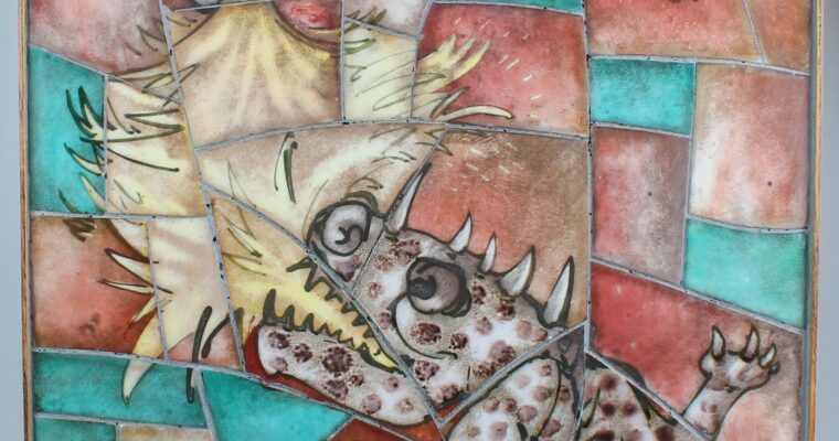 Edmond Bellefroid tiles in frame with dragons