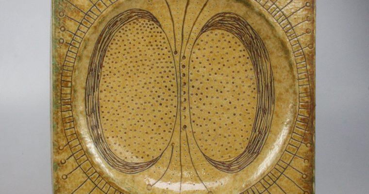 Hans de Jong large studio pottery tile/plate