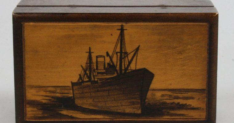 Wooden stamp box art deco Egmond aan Zee