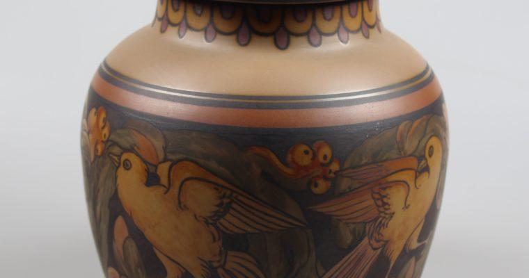 L. Hjorth Bornholm art deco pot with lid birds