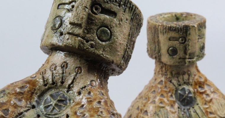 Hans de Jong set of figurative candleholders