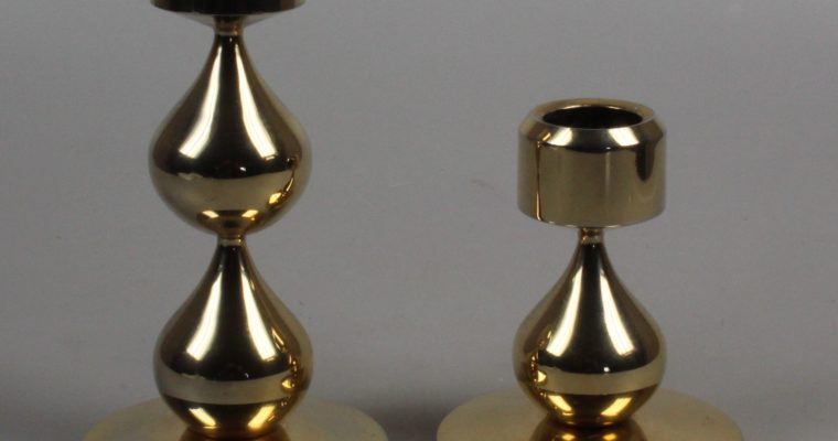 Hugo Asmussen set of 2 gold plated candleholders