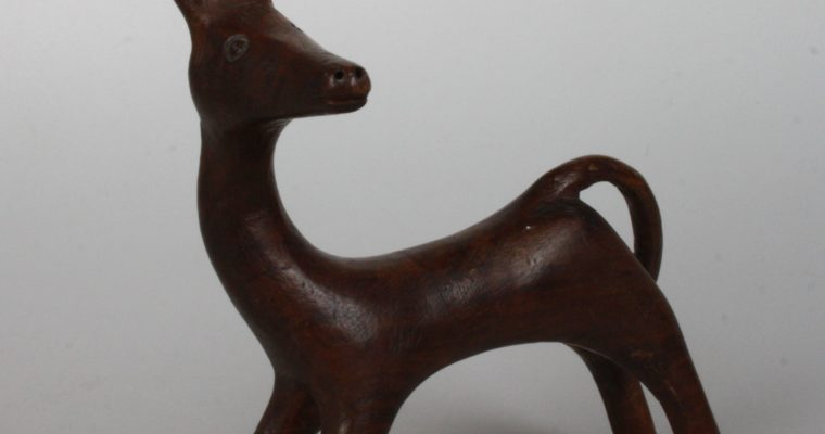 Scandinavian teak figurine of a fawn